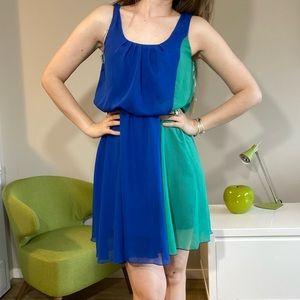 Dresses & Skirts - Colour block fit and flare summer dress blue